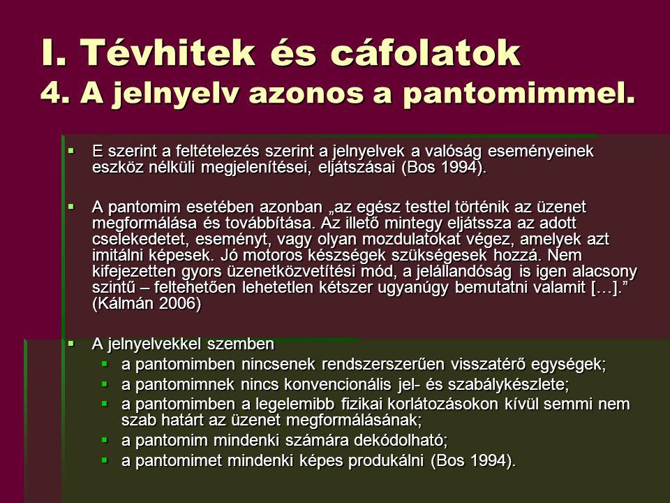 I. Tévhitek és cáfolatok 4. A jelnyelv azonos a pantomimmel.