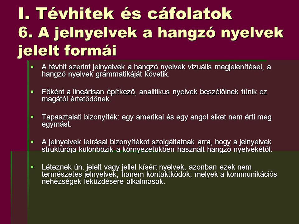 I. Tévhitek és cáfolatok 6. A jelnyelvek a hangzó nyelvek jelelt formái