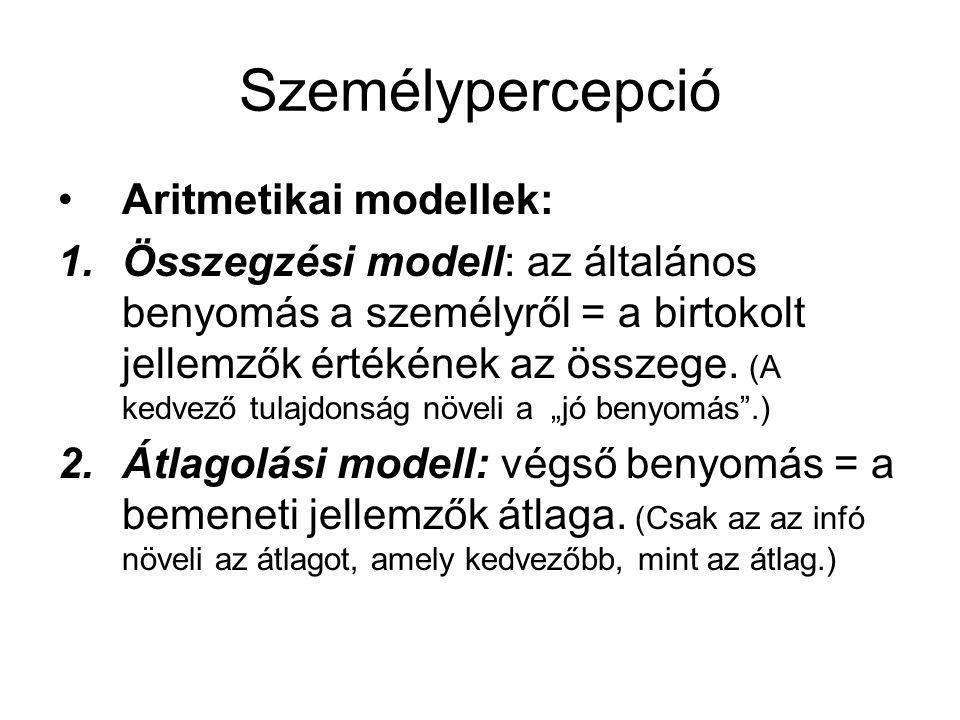 Személypercepció Aritmetikai modellek: