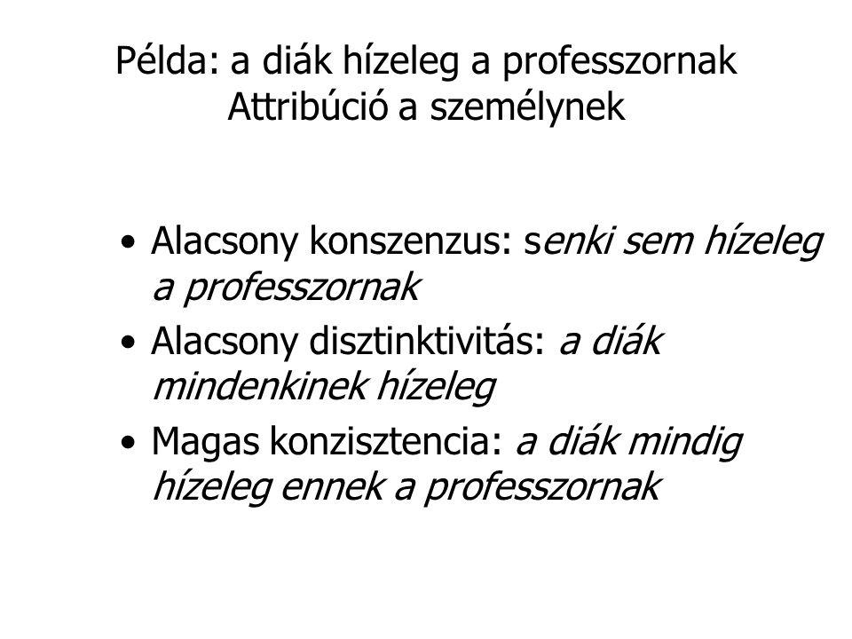 Példa: a diák hízeleg a professzornak Attribúció a személynek