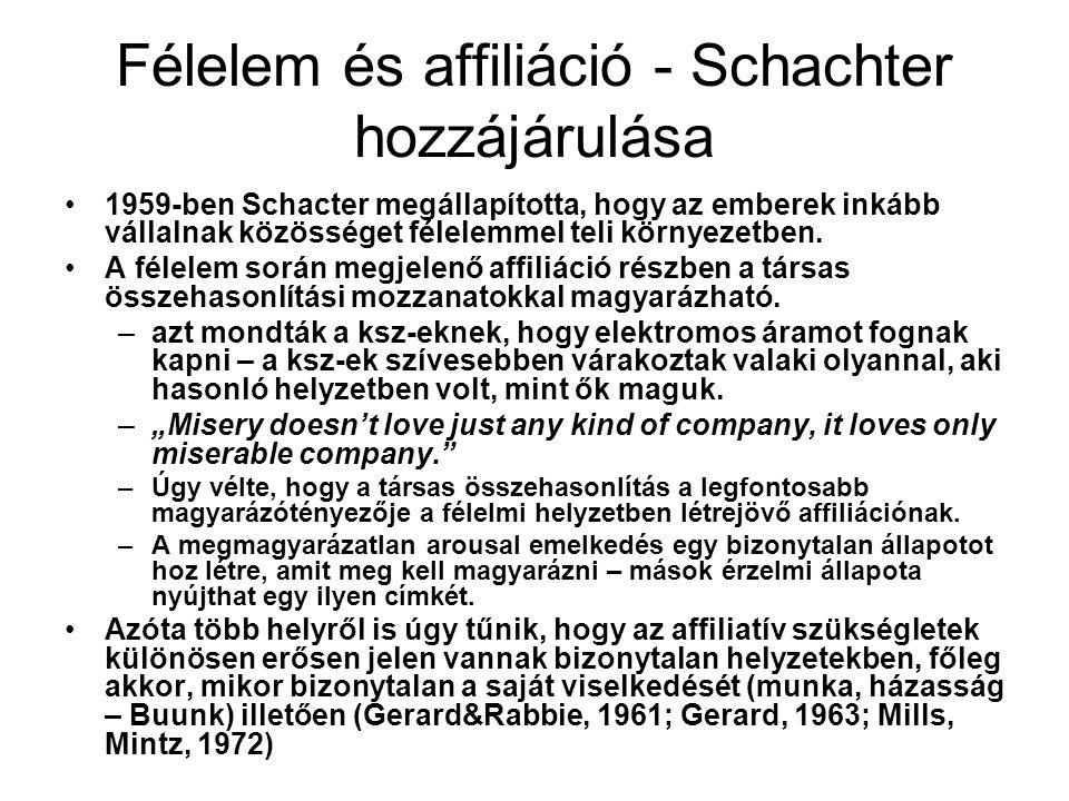 Félelem és affiliáció - Schachter hozzájárulása