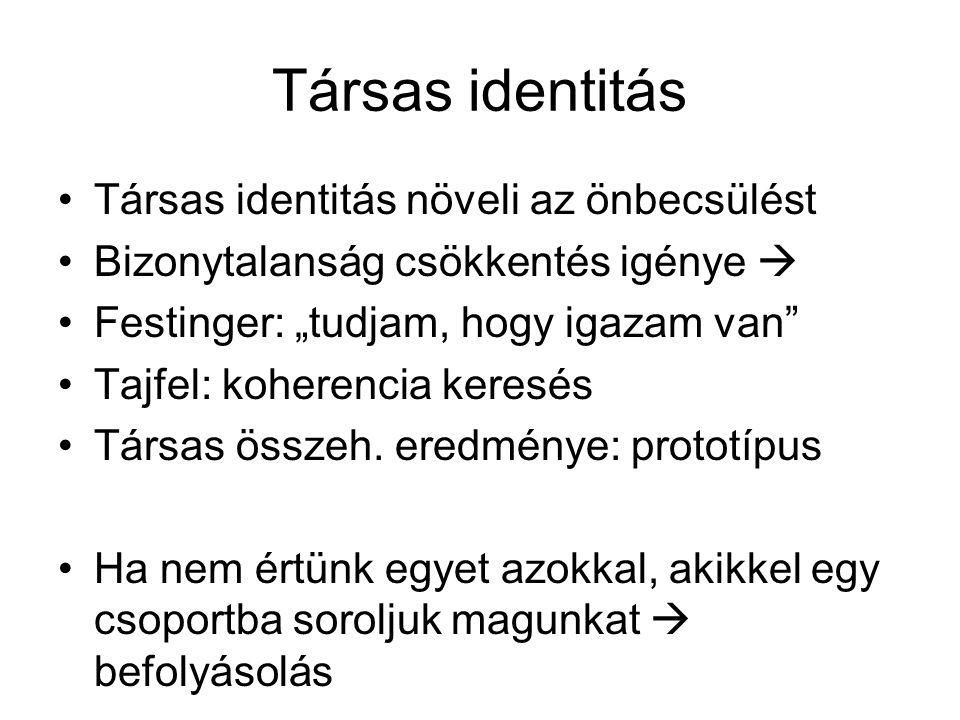 Társas identitás Társas identitás növeli az önbecsülést