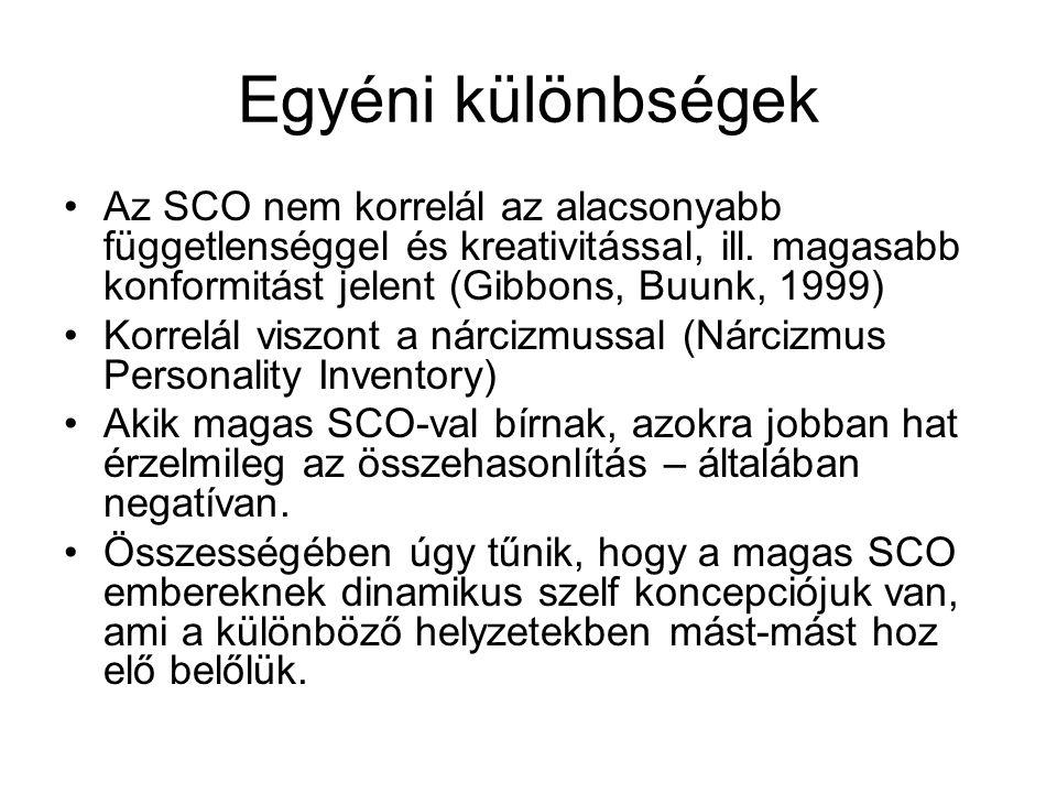 Egyéni különbségek Az SCO nem korrelál az alacsonyabb függetlenséggel és kreativitással, ill. magasabb konformitást jelent (Gibbons, Buunk, 1999)