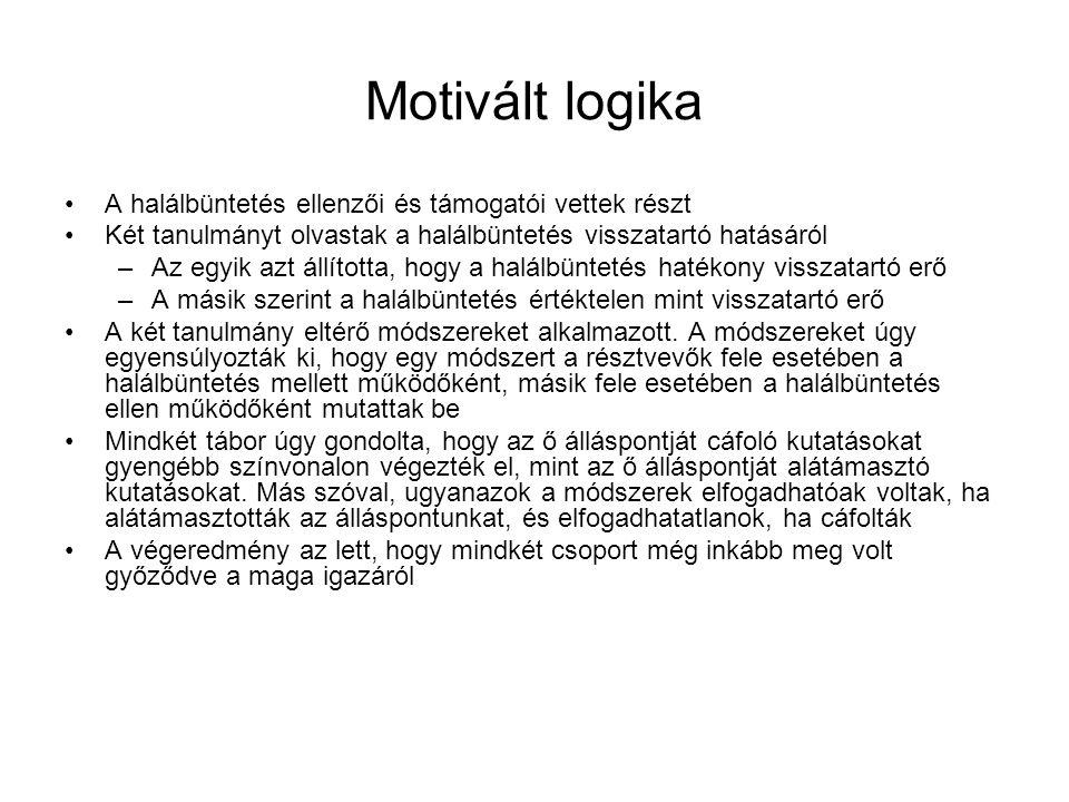 Motivált logika A halálbüntetés ellenzői és támogatói vettek részt