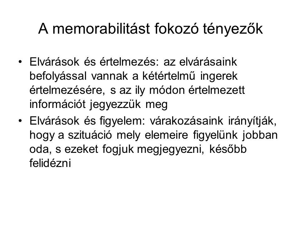 A memorabilitást fokozó tényezők