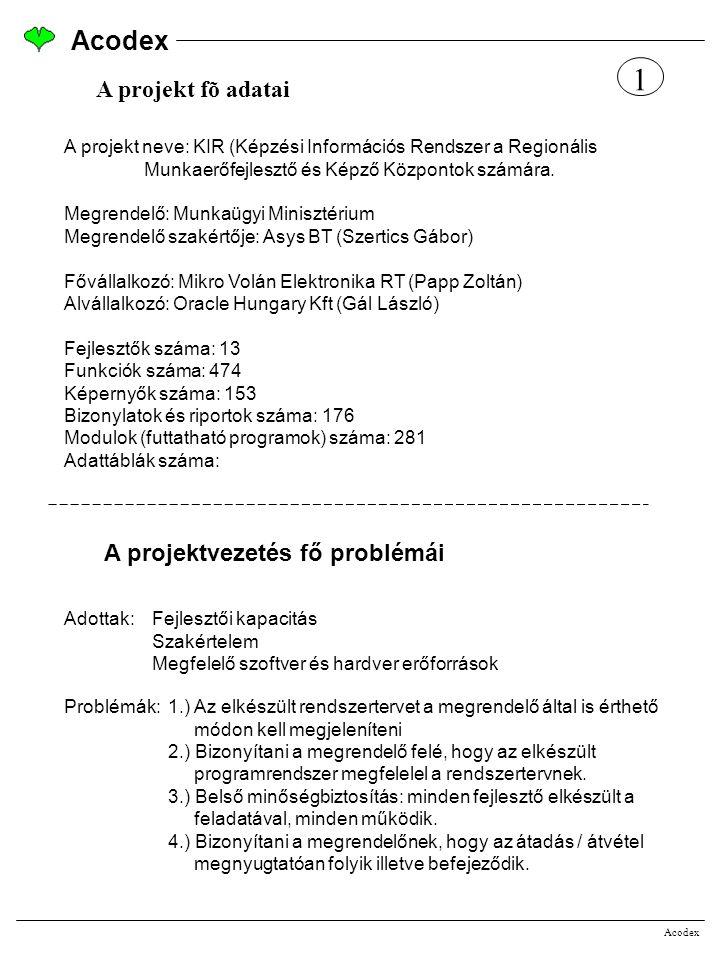 1 Acodex A projekt fõ adatai A projektvezetés fő problémái