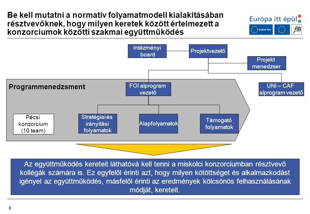 Be kell mutatni a normatív folyamatmodell kialakításában résztvevőknek, hogy milyen keretek között értelmezett a konzorciumok közötti szakmai együttműködés