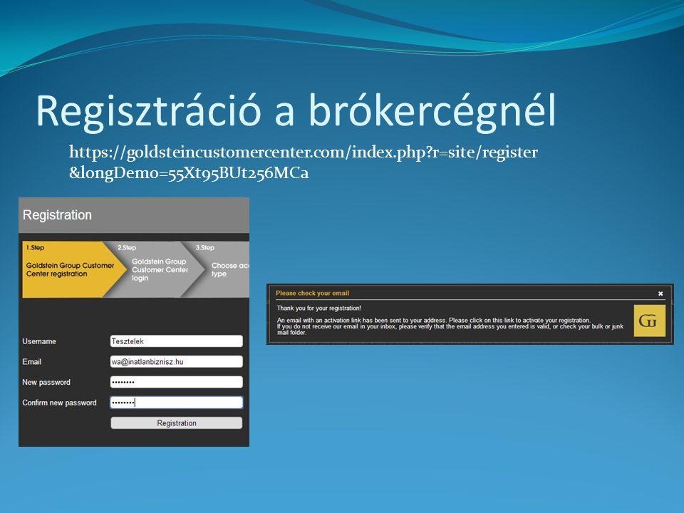 Regisztráció a brókercégnél