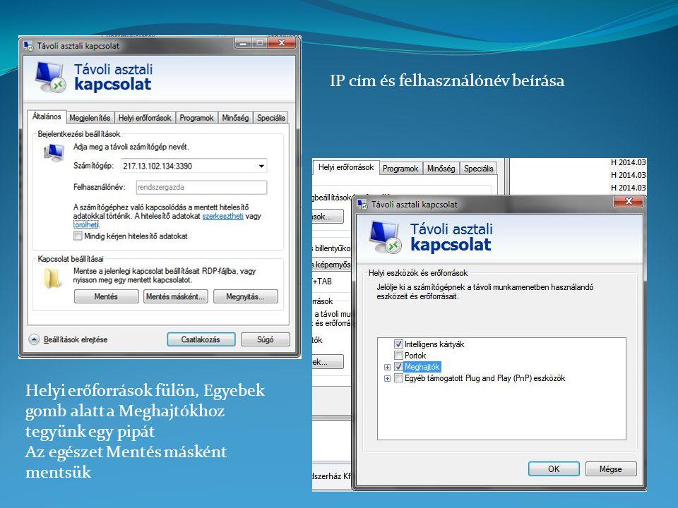 IP cím és felhasználónév beírása