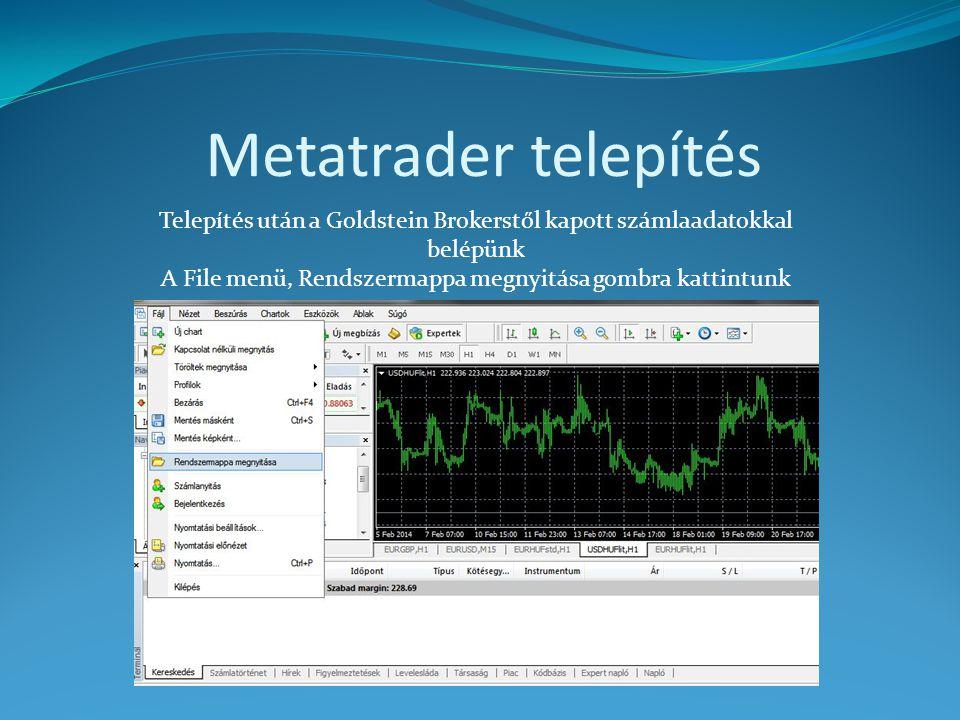 Metatrader telepítés Telepítés után a Goldstein Brokerstől kapott számlaadatokkal belépünk.