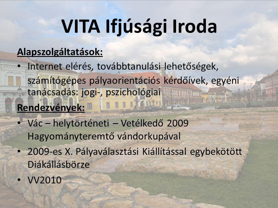 VITA Ifjúsági Iroda Alapszolgáltatások: