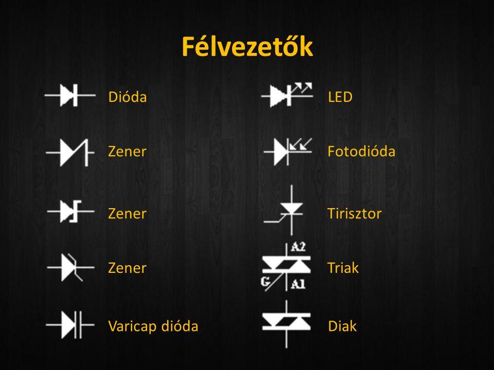 Félvezetők Dióda LED Zener Fotodióda Zener Tirisztor Zener Triak