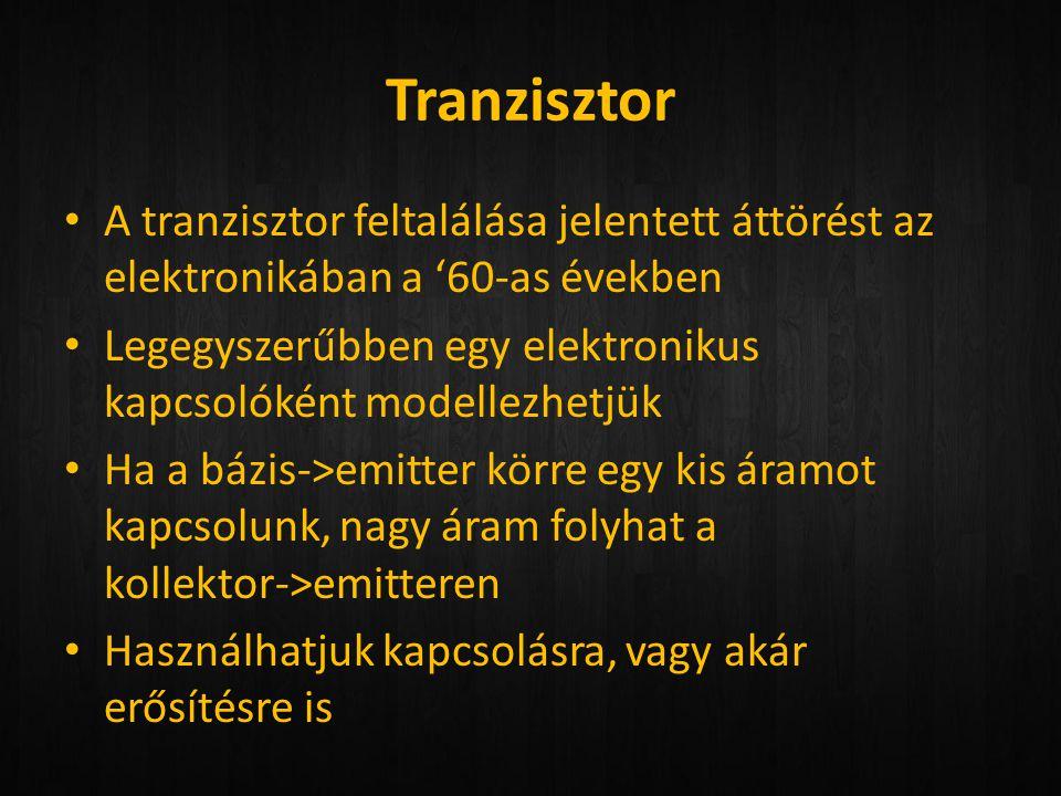 Tranzisztor A tranzisztor feltalálása jelentett áttörést az elektronikában a '60-as években.