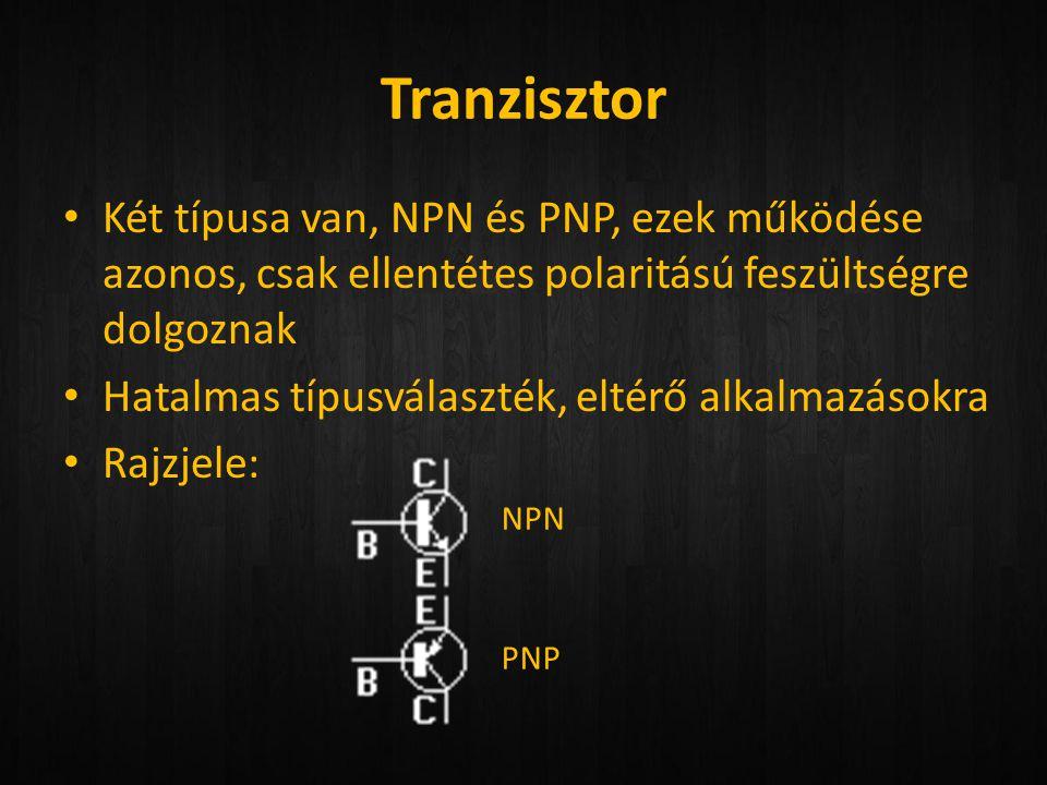 Tranzisztor Két típusa van, NPN és PNP, ezek működése azonos, csak ellentétes polaritású feszültségre dolgoznak.