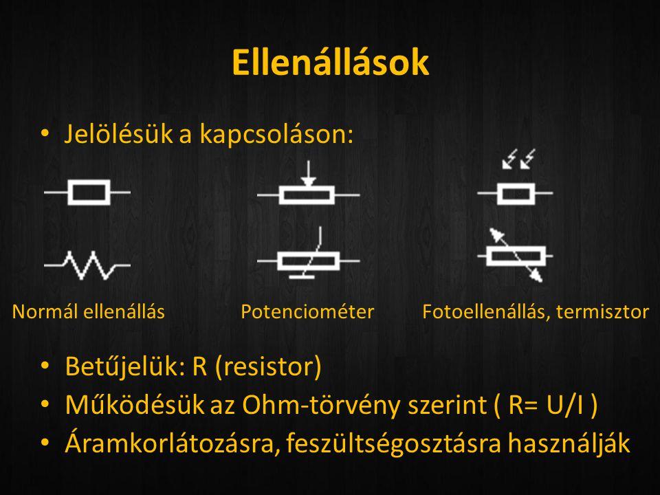 Ellenállások Jelölésük a kapcsoláson: Betűjelük: R (resistor)