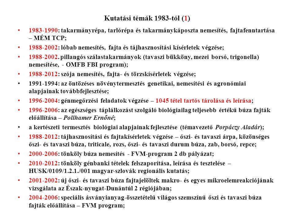 Kutatási témák 1983-tól (1) 1983-1990: takarmányrépa, tarlórépa és takarmánykáposzta nemesítés, fajtafenntartása – MÉM TCP;
