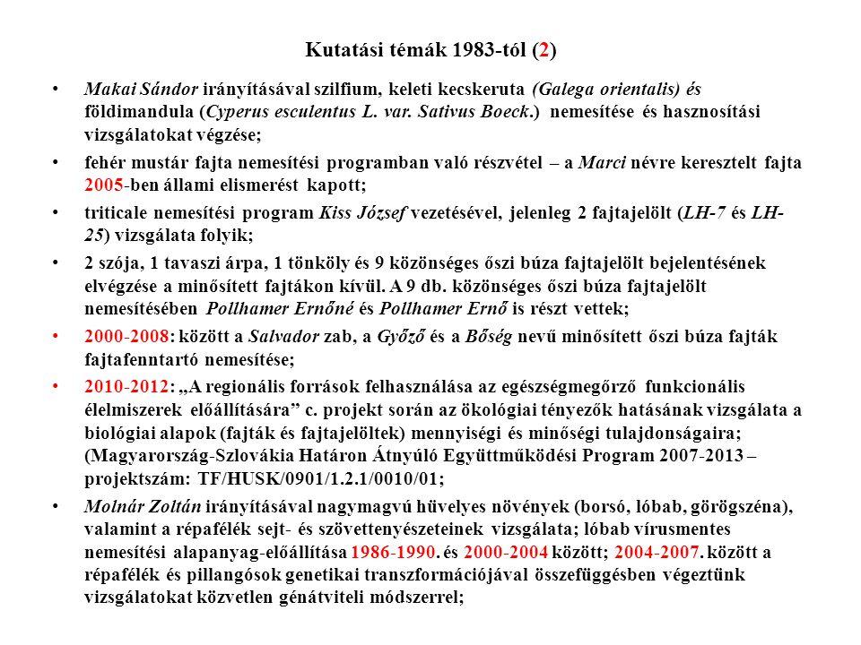 Kutatási témák 1983-tól (2)
