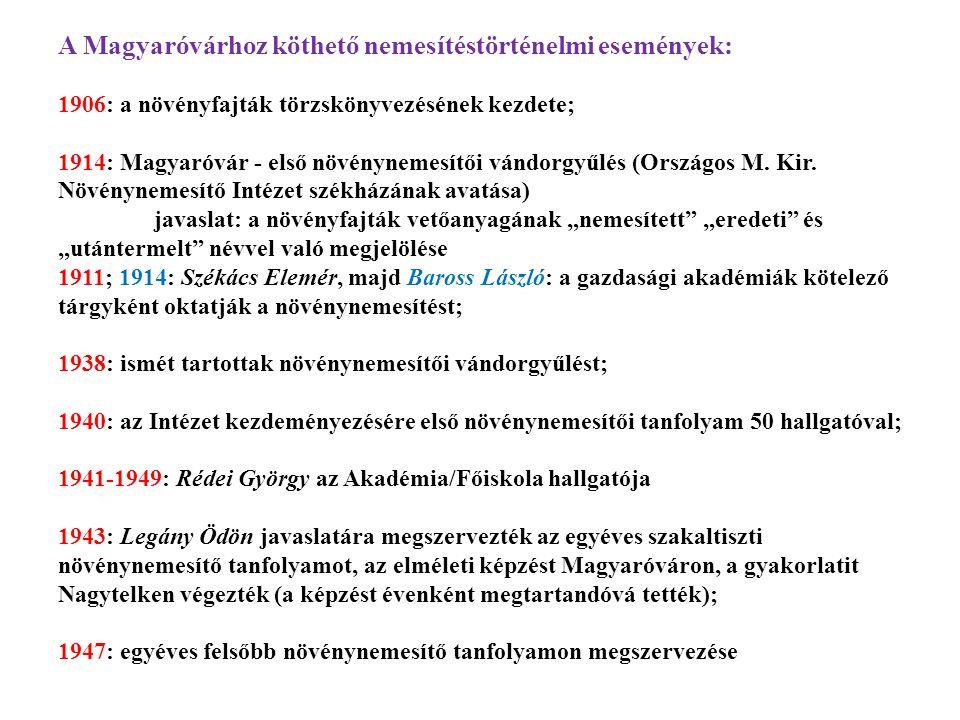 A Magyaróvárhoz köthető nemesítéstörténelmi események: