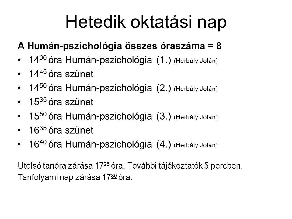 Hetedik oktatási nap A Humán-pszichológia összes óraszáma = 8
