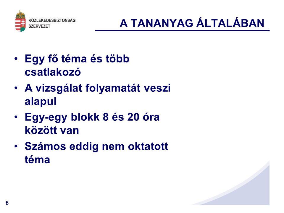 A TANANYAG ÁLTALÁBAN Egy fő téma és több csatlakozó. A vizsgálat folyamatát veszi alapul. Egy-egy blokk 8 és 20 óra között van.