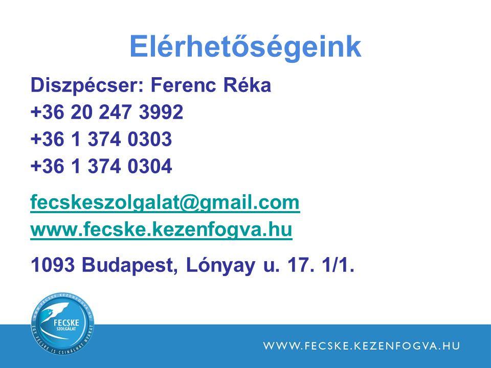 Elérhetőségeink Diszpécser: Ferenc Réka +36 20 247 3992 +36 1 374 0303