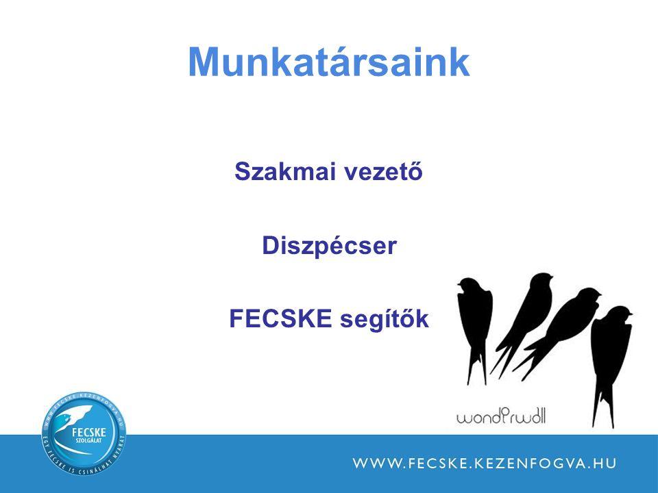 Munkatársaink Szakmai vezető Diszpécser FECSKE segítők