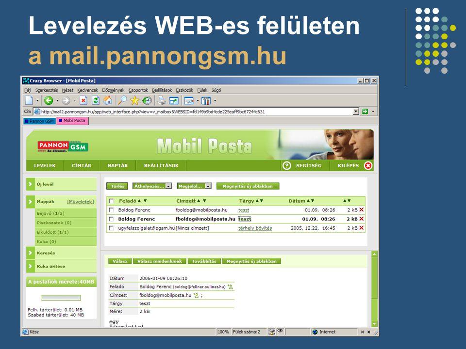 Levelezés WEB-es felületen a mail.pannongsm.hu