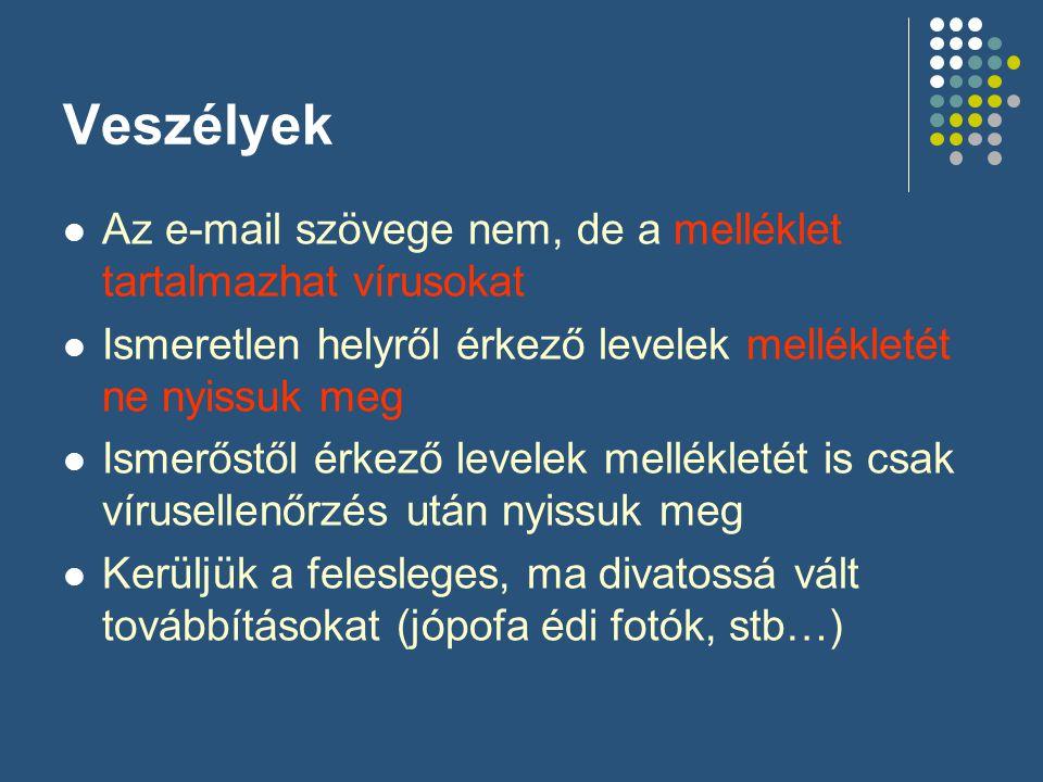 Veszélyek Az e-mail szövege nem, de a melléklet tartalmazhat vírusokat