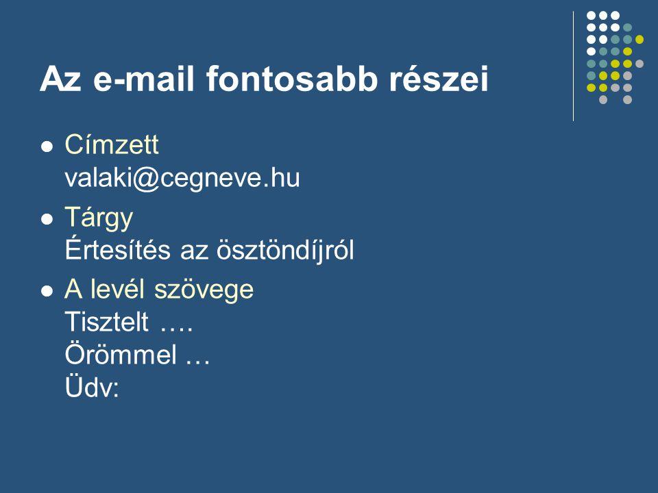 Az e-mail fontosabb részei