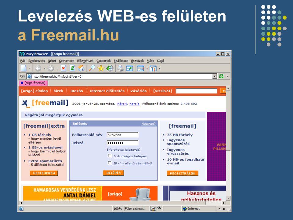 Levelezés WEB-es felületen a Freemail.hu