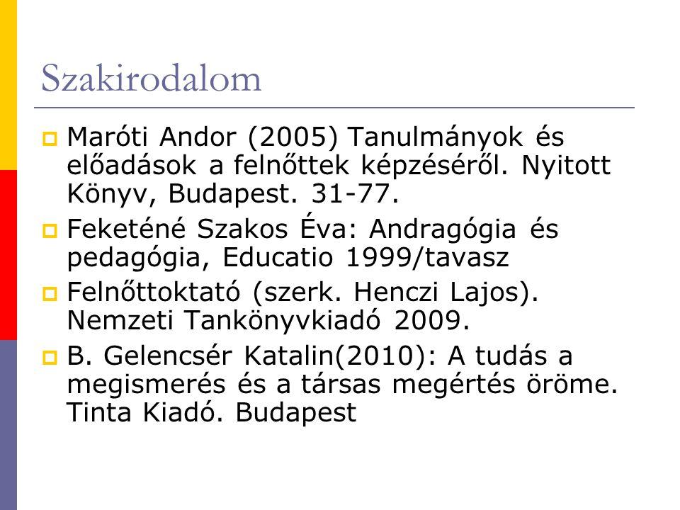 Szakirodalom Maróti Andor (2005) Tanulmányok és előadások a felnőttek képzéséről. Nyitott Könyv, Budapest. 31-77.