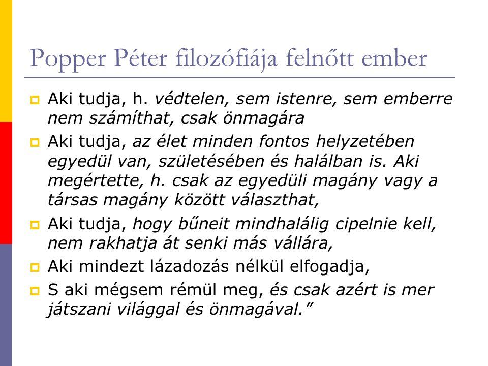 Popper Péter filozófiája felnőtt ember