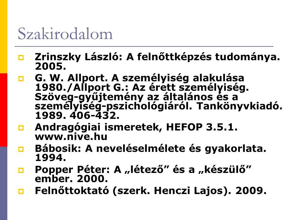 Szakirodalom Zrinszky László: A felnőttképzés tudománya. 2005.