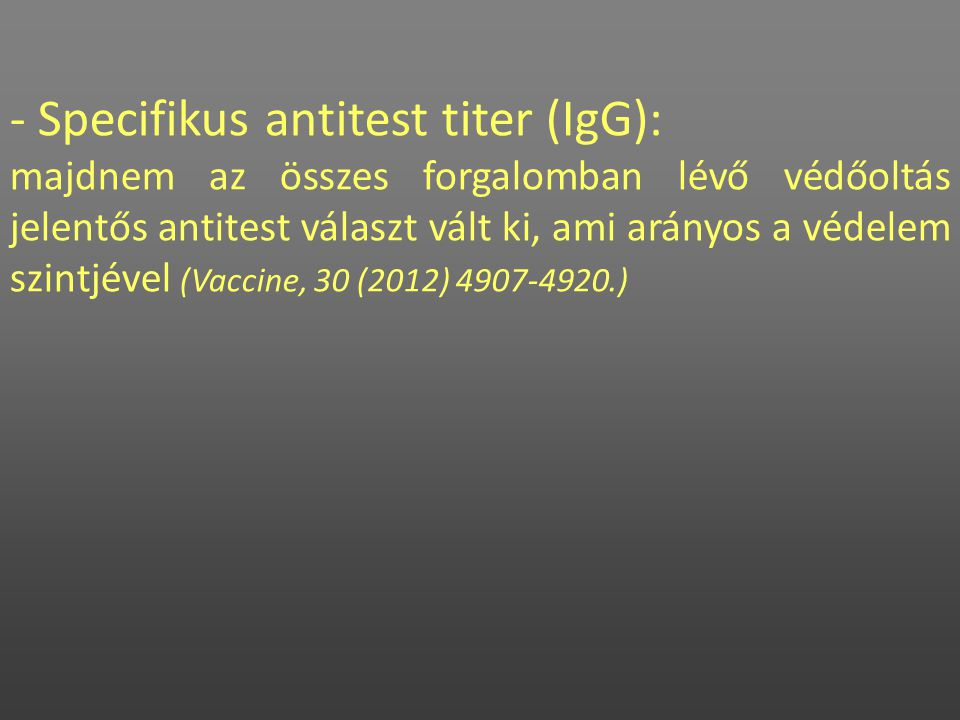 - Specifikus antitest titer (IgG):