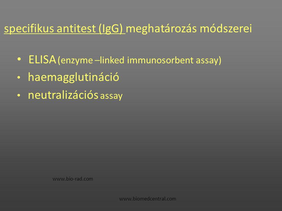 specifikus antitest (IgG) meghatározás módszerei