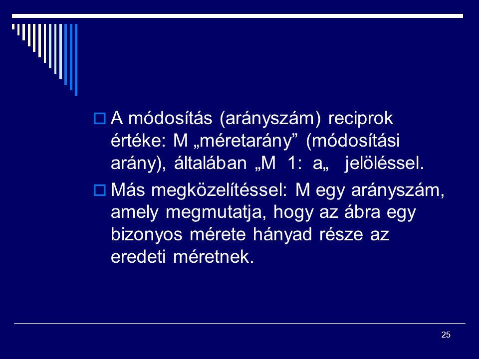 """A módosítás (arányszám) reciprok értéke: M """"méretarány (módosítási arány), általában """"M 1: a"""" jelöléssel."""