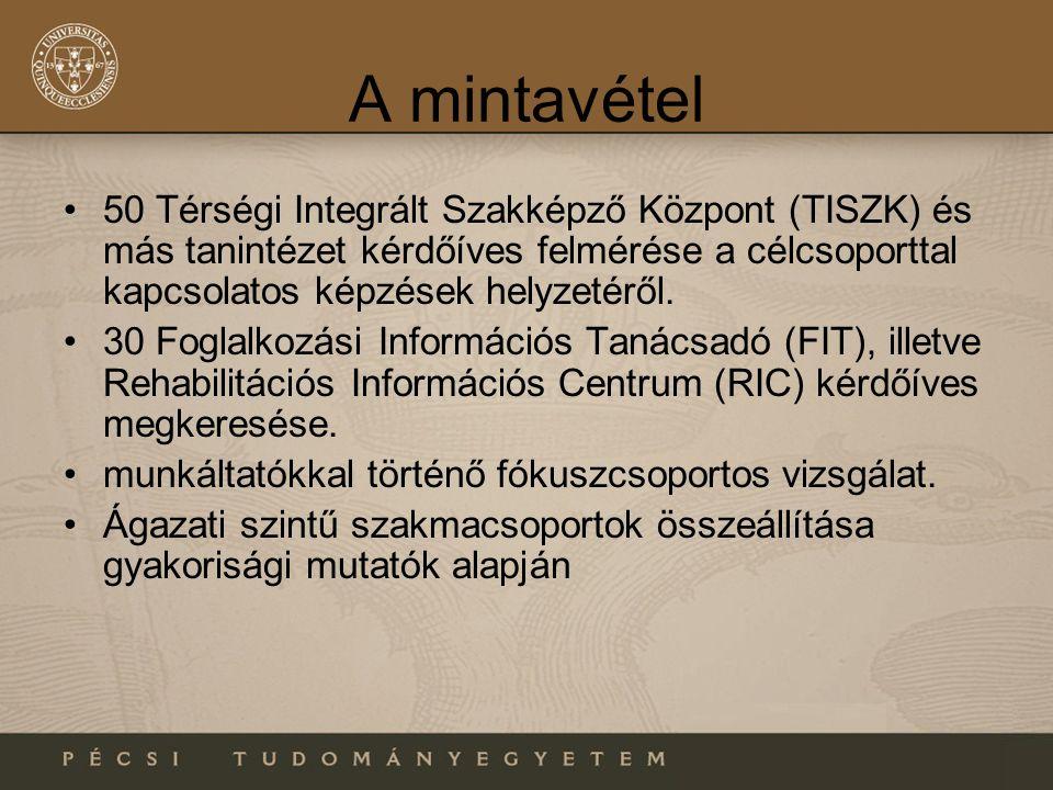 A mintavétel 50 Térségi Integrált Szakképző Központ (TISZK) és más tanintézet kérdőíves felmérése a célcsoporttal kapcsolatos képzések helyzetéről.