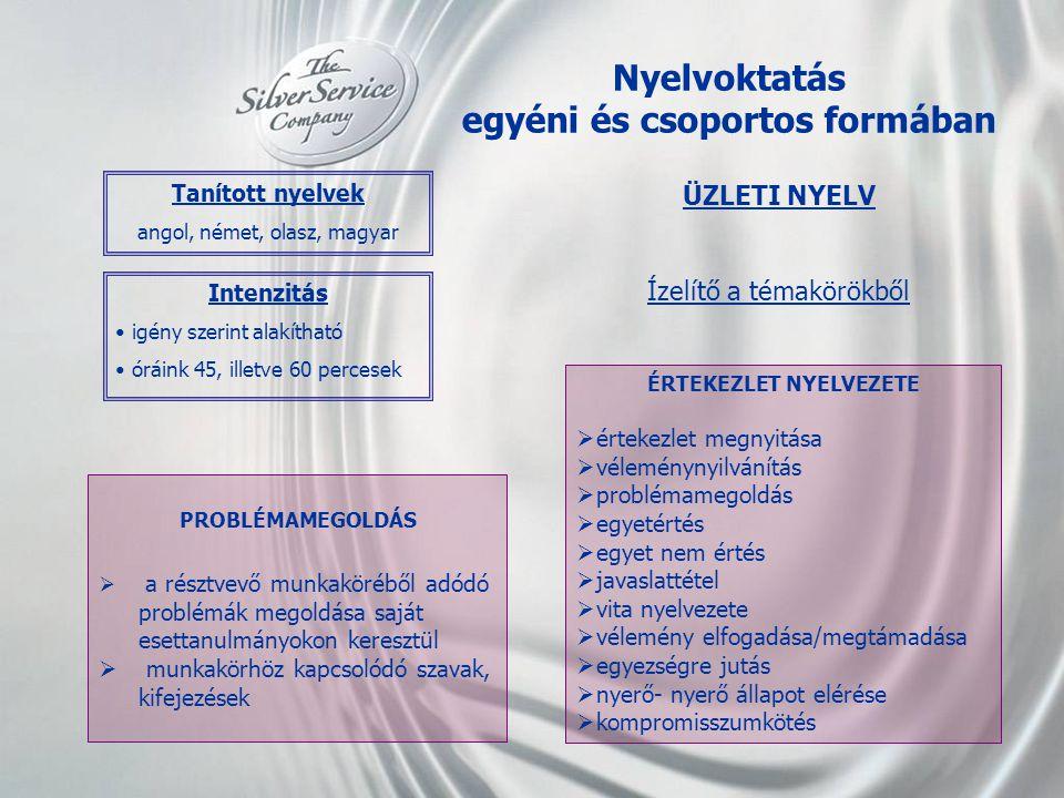 Nyelvoktatás egyéni és csoportos formában ÉRTEKEZLET NYELVEZETE