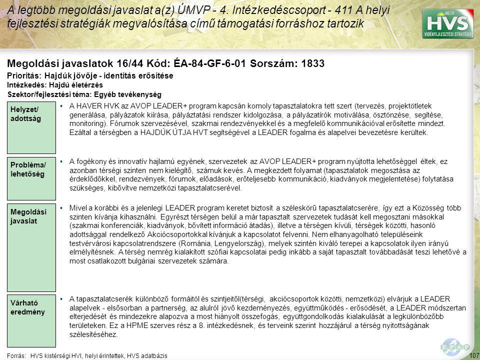 Megoldási javaslatok 16/44 Kód: ÉA-84-GF-6-01 Sorszám: 1833