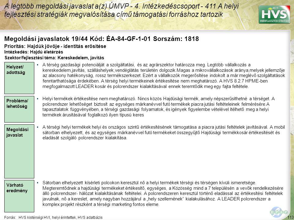 Megoldási javaslatok 19/44 Kód: ÉA-84-GF-1-01 Sorszám: 1818