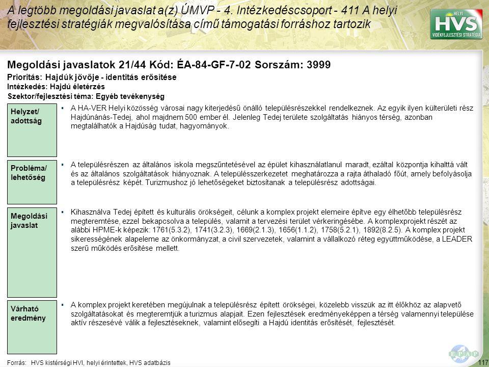 Megoldási javaslatok 21/44 Kód: ÉA-84-GF-7-02 Sorszám: 3999
