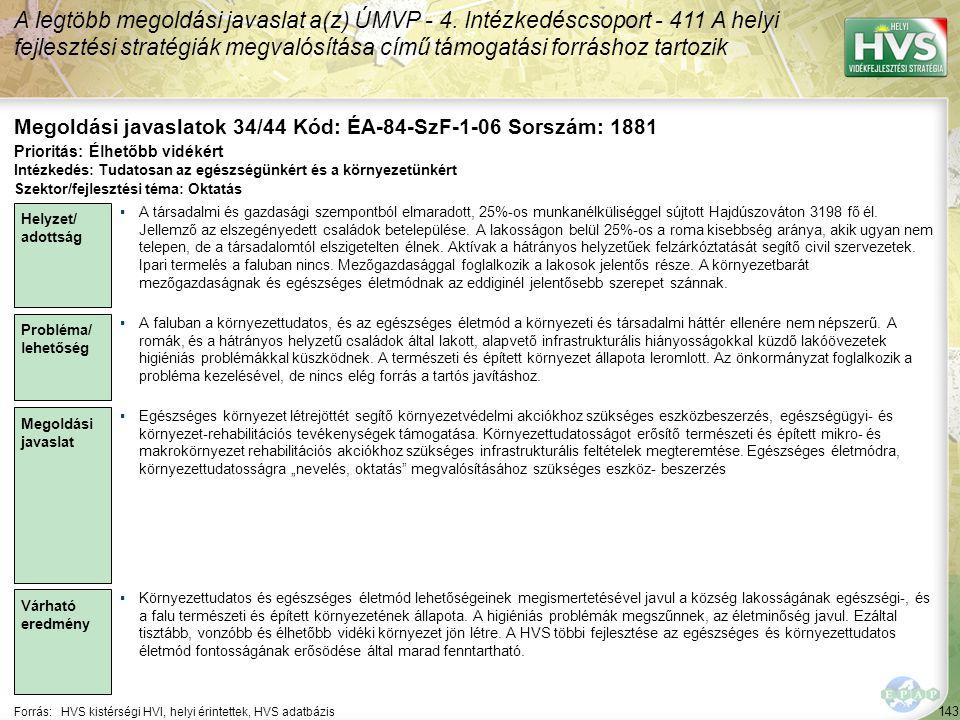 Megoldási javaslatok 34/44 Kód: ÉA-84-SzF-1-06 Sorszám: 1881
