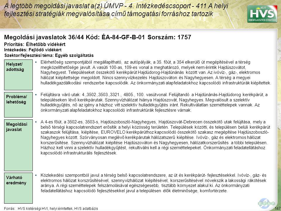 Megoldási javaslatok 36/44 Kód: ÉA-84-GF-B-01 Sorszám: 1757