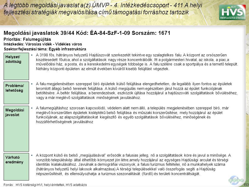Megoldási javaslatok 39/44 Kód: ÉA-84-SzF-1-09 Sorszám: 1671