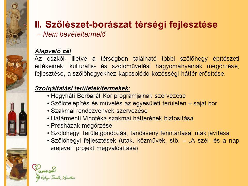 II. Szőlészet-borászat térségi fejlesztése -- Nem bevételtermelő