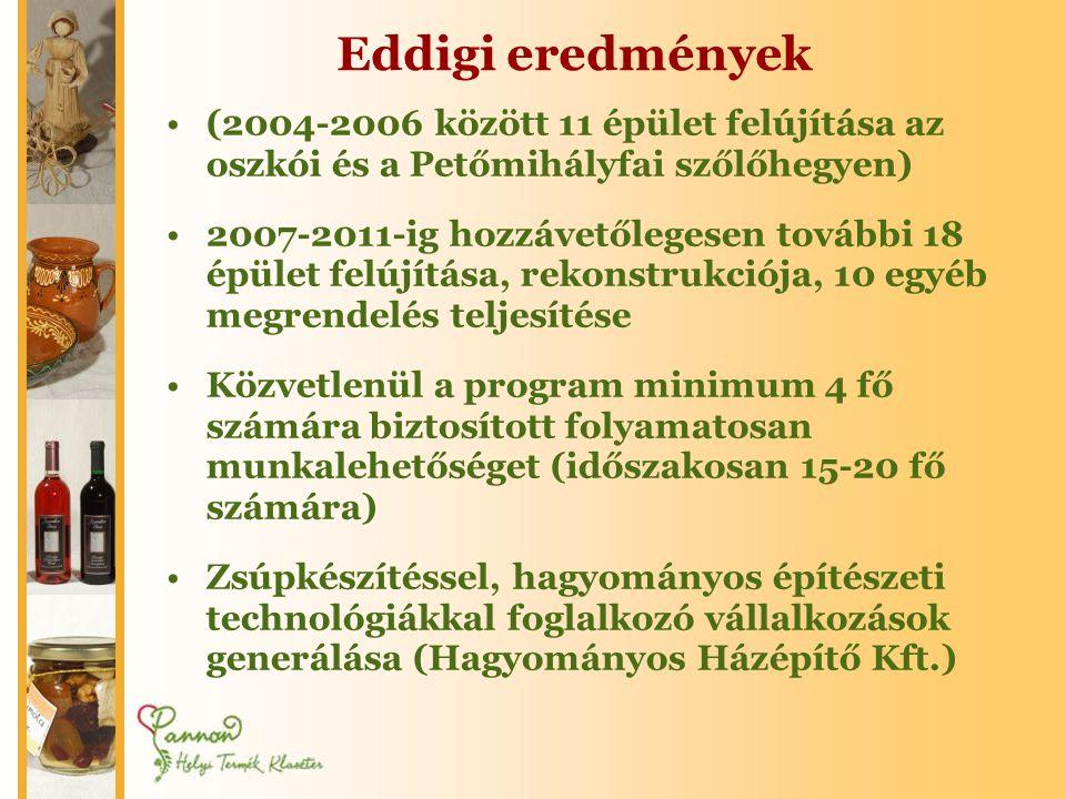 Eddigi eredmények (2004-2006 között 11 épület felújítása az oszkói és a Petőmihályfai szőlőhegyen)