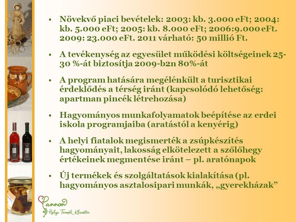 Növekvő piaci bevételek: 2003: kb. 3. 000 eFt; 2004: kb. 5