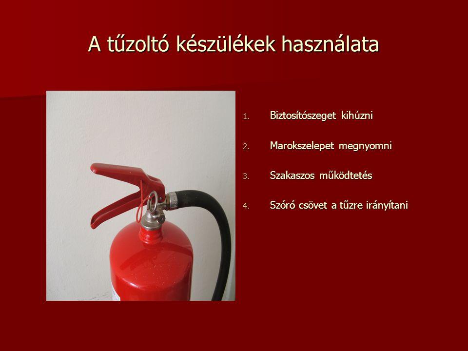 A tűzoltó készülékek használata