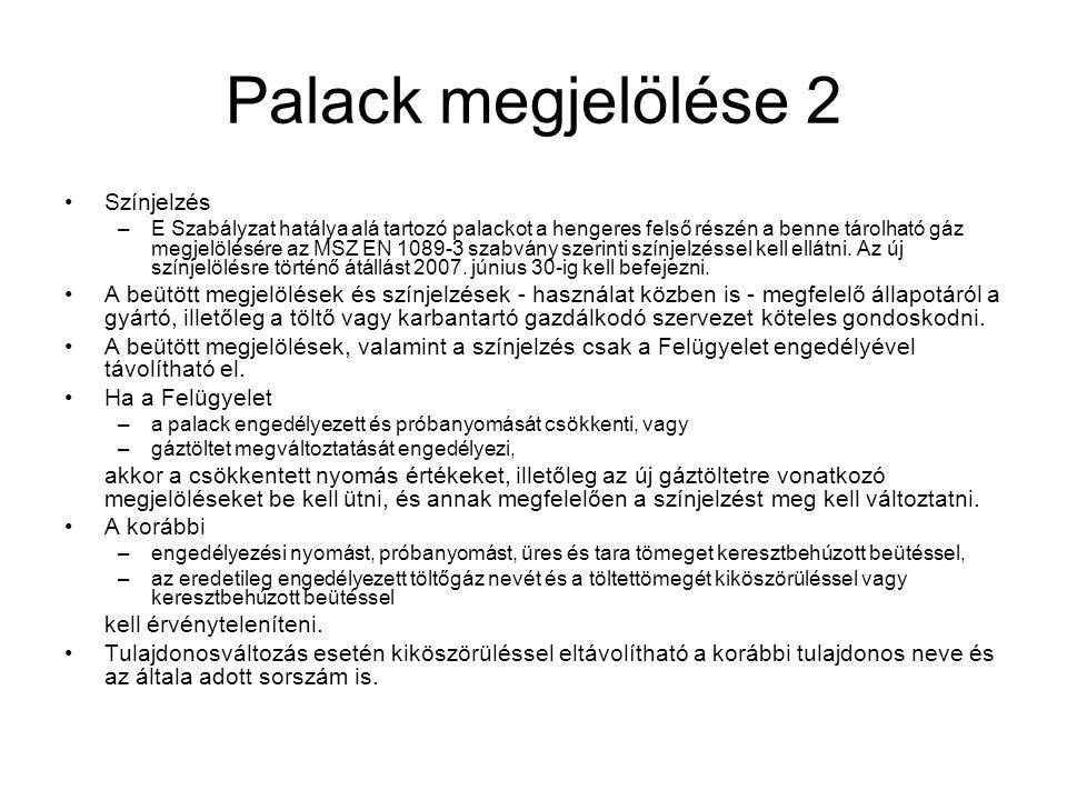 Palack megjelölése 2 Színjelzés