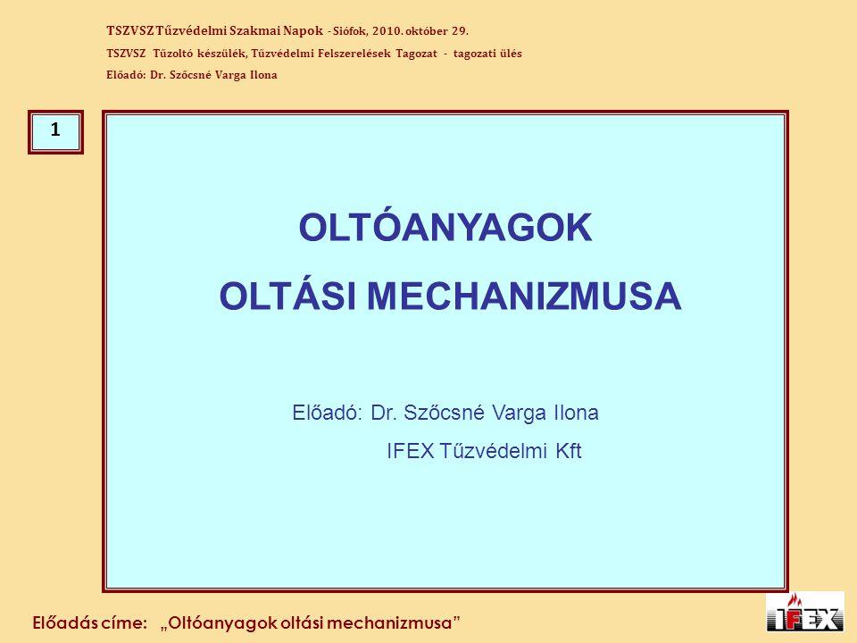 Előadó: Dr. Szőcsné Varga Ilona
